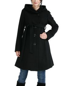 Take a look at this Black Lauren Wool-Blend Maternity Coat by MOMO Maternity on #zulily today!