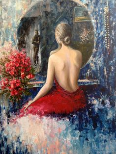 Original Oil Painting  The Mirror  Figurative by ArtSunday on Etsy