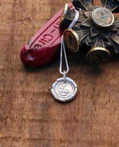Wax Seal Jewelry Reindeer Christmas Charm, Stag, Deer Handmade Precious Metal Clay Jewelry PMC Eco Friendly by Blue Sail Studios