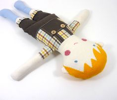 Boy Rag Doll Toy Doll Blond Hair Brown Overalls by CleoAndPoppy