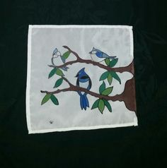 A small stained glass style peice, hand painted on silk. Hand painted silk by Elizabet Hunter, Lochac