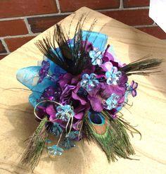 Peacock feathers plum eggplant purple bouquet by UptownGirlzz, $38.50
