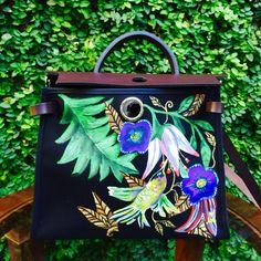 Hand painted Hermes herbag by artist love Marie aka heart Evangelista Hermes Bags, Hermes Handbags, Hermes Birkin, Designer Handbags, Painted Bags, Hand Painted, Heart Evangelista Style, Jewel Hands, Bag Display