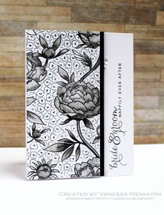 wings of a butterfly - gorgeous black and white Large Flower Background by Hero Arts!