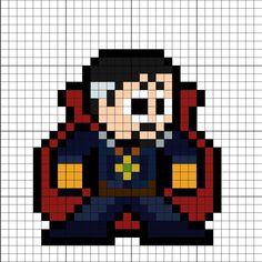 Doctor Strange Thor Ragnarok Perler Bead Pattern Hama Beads Patterns, Beading Patterns, Perler Bead Art, Perler Beads, Pixel Art Minecraft, Image Pixel Art, Motifs Perler, Perler Bead Templates, Pixel Design