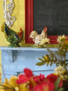 French Country mantelpiece collection --it looks like this might be a restaurant (specials written on the blackboard, perhaps) French Country Cottage, French Country Style, Cottage Style, French Decor, French Country Decorating, Yellow Cottage, Rooster Decor, Chickens And Roosters, Galo
