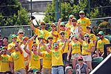 Australian fans cheer Lleyton Hewitt during his First round match