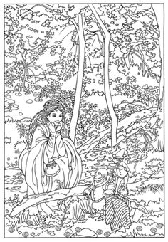 Adult Coloring Page Color Your Own Victorian Fairy Painting Dover Publications