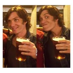 "You can take the boy outta Ireland, but ... Happy St Patrick's Day! · Cillian and his pint in Brighton, at the end of the ""Free Fire"" shoot. #cillianmurphy #happystpatricksday (edit of photos by set artist James Fennessy)"