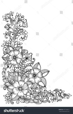 Discover recipes, home ideas, style inspiration and other ideas to try. Doodle Borders, Doodle Patterns, Zentangle Patterns, Zentangles, Floral Embroidery Patterns, Hand Embroidery Designs, Flower Patterns, Doodle Art Drawing, Mandala Drawing