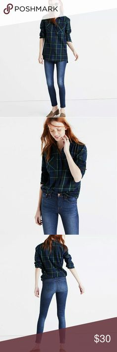 "madewell flannel ex-boyfriend shirt Madewell Flannel Ex-Boyfriend Shirt in Ontario Plaid Button Down  *missing a button but comes with an extra*  PRODUCT DETAILS A timeless button-down shirt in a low-key plaid. Slightly oversized with ready-to-roll sleeves, this version is just right.  True to size.Cotton.Machine wash.Import.  Size M Armpit to armpit - 19"" Length - 24""  Measurements are taken of garment laying flat.  Please see photos.  Thanks for looking! Madewell Tops Button Down Shirts"