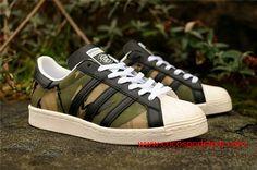 CLOT x KZK x Adidas Superstar 84-Lab 80s Trees Camo Black Womens Shoes $70.00
