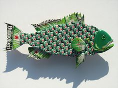 Metal Bottle Cap Fish Wall Art Small Bud Heineken by EricsEasel Owl Art Metal Bottle Cap Purple Owl Wall Art with Grape Soda Nugrape Bottlecaps I can make to order a Heineken Grouper (or any soda/beer Grouper) for you. This Grouper is made with beer caps Beer Cap Art, Beer Bottle Caps, Beer Caps, Owl Wall Art, Fish Wall Art, Owl Art, Bottle Cap Projects, Bottle Cap Crafts, Bottle Top Art
