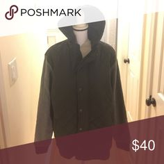 Men's size XL quilted sweater/jacket. Black quilted zippered jacket with snap on buttons. Has hood. Sleeves are a Jersey material-colored gray. Ring of Fire Jackets & Coats Lightweight & Shirt Jackets