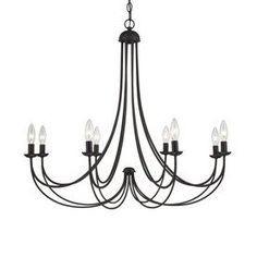 The sweeping arms create a slim silhouette and the candelabra bulbs emit a soft light for a warm romantic glow. Canopy diameter is 5-in. Constructed of steel. -- undefined #HomeDecor