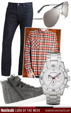 Keep your accessories neutral and classic to make one item, like this shirt, pop. Sunglasses: Nautica Watch: Emporio Armani via BloomingdalesPants: J BrandShirt: Nudie JeansShoes: Pierre Hardy via Mr. Porter