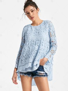 Long Sleeve High Low Pleated Lace Blouse - LIGHT BLUE 2XL