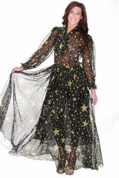 Beautifly Women's Star Print Sheer Chiffon Maxi Gown #WomensDress #Print #Chiffon #Gown #Maxi #Dress