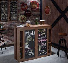 Contemporary Multi-Shelf Pedestal Wood Chalkboard Walnut Bar Table Storage New #ChalkboardBarTable