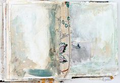 I like the messy gesso look as a starting place for a journal page. pages by dj pettitt, via Flickr