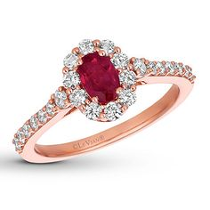 Le Vian Natural Ruby Ring 1/2 cttw Diamonds 14K Strawberry Gold