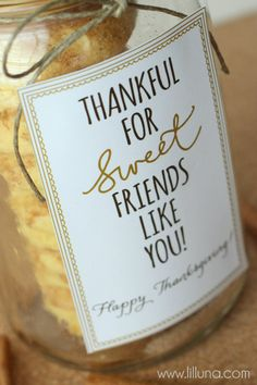 Thankful for Sweet Friends Like You Happy Thanksgiving Tag - free print