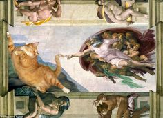 Russian artist Svetlana Petrova has inserted her pet - a large ginger tabby cat called Zarathustra - into a series of great artworks And God created Cat, for He decreed there must be a creature whose photographs would fill the internet... Just a small amendment to the Creation story that Michelangelo depicted on the ceiling of the Vatican's Sistine Chapel