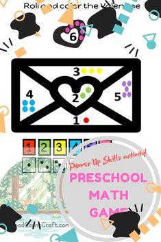 Power up Skill Building:Preschool Math Games- Roll and Color a Valentine Preschool Math Games, Math Literacy, Preschool Activities, Kindergarten Books, Curriculum Planning, Pre Writing, Book Themes, Activity Centers, Used Books