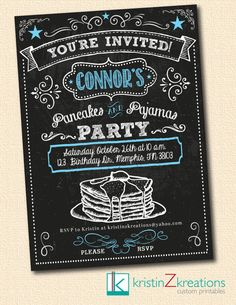 PANCAKES AND PAJAMAS chalkboard invitation by kristinZkreations