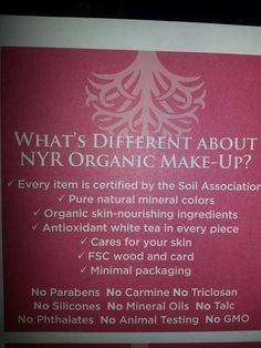 What's different about NYR Organic Make Up?   https://us.nyrorganic.com/shop/everygoodthing/area/shop-online/category/cosmetics/