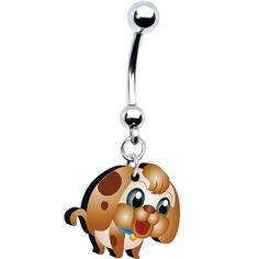 $7.99 #bellyring #piercing #puppy #dog #bodymodification Adorable Puppy Belly Ring