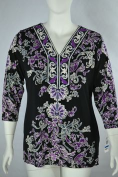 JM Collection Deco Glam Tunic Top Size XL Mag Scroll Flow V Neck Black Purple  #JMCollection #Tunic