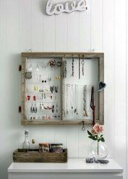 Window frame jewelry storage - 50 Decorative Rustic Storage Projects For a Beautifully Organized Home