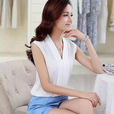 9c23b672b R$ 41.57 |Blusas Femininas 2016 nova moda feminina colorido do decote em V  Chiffon verão Blusas camisa bonito sem mangas camisas Casual Top em Blusas  e ...