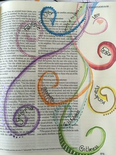 Bible journaling. The fruits of the Spirit. - I like all the open space left on the page