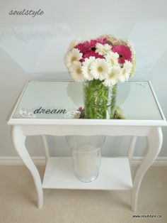 'dream' bed side table -  I would replace  the glass top with wood and distress