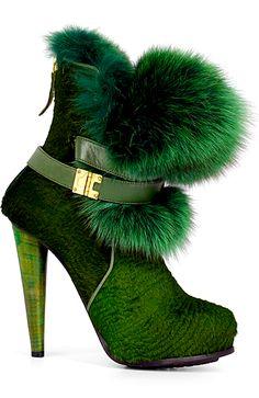Burak Uyan furry boot heels in Emerald green. #BurakUyan #ShaunaGiesbrecht #VonGiesbrechtJewels