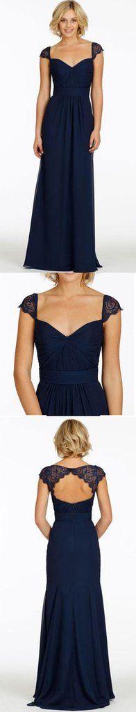 Cap Sleeve Open Back Lace Sweet Heart Chiffon Navy Blue Formal Cheap Bridesmaid dresses