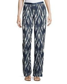 Oadri Ikat-Print Wide-Leg Pants, Navy