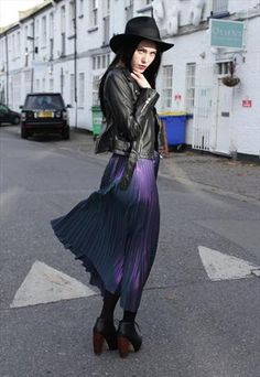 Vintage 1980's Purple Pleated Metallic Midi Skirt