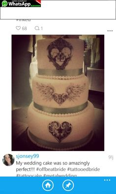 Tattoo Cake, Offbeat Bride, Wedding Cakes, Amazing, Desserts, Food, Wedding Gown Cakes, Tailgate Desserts, Deserts