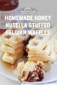 Homemade Honey Nutella Stuffed Belgian Waffles | Madhava