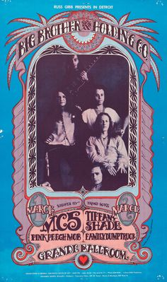 Big Brother and the Holding Company/Janis Joplin concert poster by Gary Grimshaw Pop Posters, Band Posters, Music Posters, Janis Joplin, Vintage Concert Posters, Vintage Posters, Vintage Graphic, Woodstock, Wes Wilson
