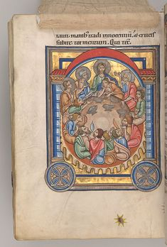 MS M.710 fol. 39v, silk lifted | The The Last Supper, silk lifted Weingarten, Germany 1215–1217 293 x 204 mm Purchased by J.P. Morgan, 1926