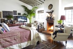 fireplace, vaulted beamed ceiling, white walls, layers