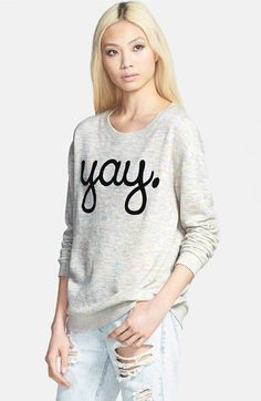 Free shipping and returns on MINKPINK 'Um Yay' Sweatshirt at Nordstrom.com. A heathered grey sweatshirt crafted from a fleecy tri-blend is inscribed with a playful message that's sure to earn you a smile or two.
