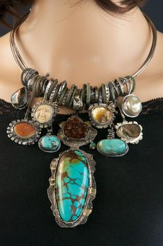 Allison Bellows Jewelry Rare Fossils & Gemstones One Of A Kind Jewelry Bohemian Bracelets, Handmade Bracelets, Beaded Bracelets, Handmade Jewelry, Silver Bracelets, Necklaces, Turquoise Jewelry, Turquoise Bracelet, Silver Jewelry