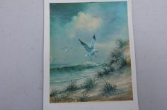 Vintage Print/ Seaside Print/ Beach Print/ Sea by DameWhoFrames