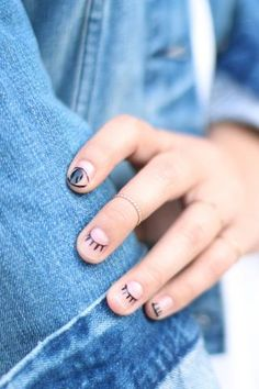 DIY Easy Winking Eyelash Nail Art Tutorial from Honestly WTF....