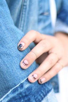DIY Easy Winking Eyelash Nail Art Tutorial from Honestly WTF....